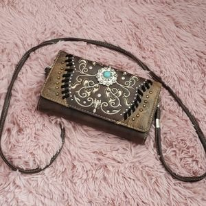 Western Wallet Crossbody with Turquoise Detail